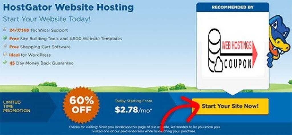 60% Off hostgator Website Hosting