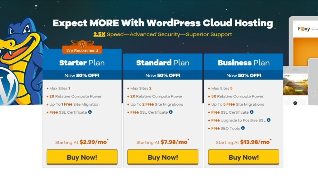 HostGator Cloud WordPress Plans