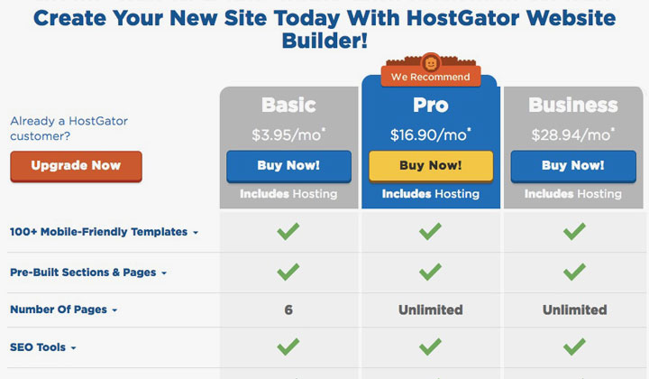 HostGator Website Buider New Account Pricing