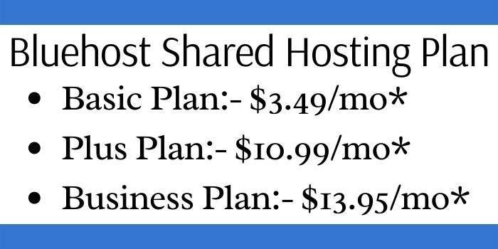 Bluehost Shared Hosting Plan