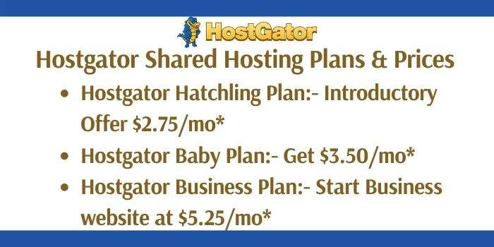 Hostgator Shared Hosting Plan